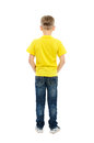 Rear view of boy isolated on white background Stock Photos