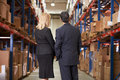 Rear view of businesswoman and businessman in warehouse looking at shelves Royalty Free Stock Photos