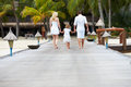 Rear view of family walking on wooden jetty away from camera Royalty Free Stock Images