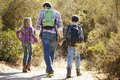 Rear view of father and children hiking in countryside Royalty Free Stock Images