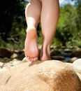 Rear View Female Feet Standing...