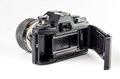 Rear-view  of a film photo camera  isolated on white :Clipping path Royalty Free Stock Photo