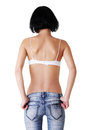 Rear view of fit female in blue jeans Royalty Free Stock Photo