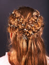 Rear view of  hairstyle with braiding. Royalty Free Stock Photography