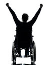 Rear view handicapped man arms raised in wheelchair silhouette one studio on white background Stock Image