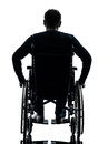 Rear view handicapped man in wheelchair silhouette one studio on white background Stock Photography