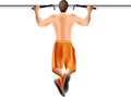 Rear view illustrated man performing cross fit pullups gym white background Stock Photography