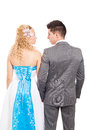 Back view of just married wedding couple Royalty Free Stock Photo