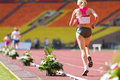Rear view of lagging athlete moscow jun on international athletic competition moscow challenge on june in luzhniki moscow russia Stock Images