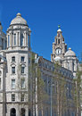 Rear view of the liver buildings liverpool uk a from on waterfront Royalty Free Stock Image