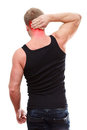 Rear view of male with neck pain Royalty Free Stock Photos