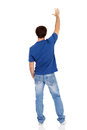 Rear view man of caucasian isolated on white background Royalty Free Stock Photo