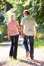 Rear view of middle aged couple walking along country lane away from camera holding hands Royalty Free Stock Photo