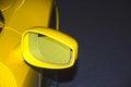 Rear View Mirror Yellow Sports Car