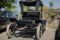 rear view of old vintage classic retro car Royalty Free Stock Photo