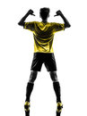Rear view portrait brazilian soccer football player young man po one pointing in silhouette studio on white background Stock Images