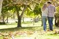 Rear View Of Romantic Couple Walking Through Autumn Woodland Royalty Free Stock Photo