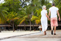 Rear view of senior couple walking on wooden jetty away from camera Royalty Free Stock Image