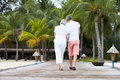 Rear view of senior couple walking on wooden jetty away from camera Stock Images