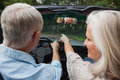 Rear view of smiling mature couple going for a ride together in classy convertible Royalty Free Stock Photos