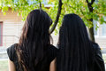 Rear view of two longhaired brunettes Royalty Free Stock Images