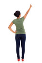 Rear view woman pointing of african american empty space Royalty Free Stock Photography