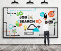 Rear view of young professional who is drawing a recruitment flowchart on the whiteboard. A concept of recruitment and job searchi Royalty Free Stock Photo