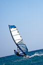 Rear view of young windsurfer Stock Image