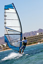 Rear view of young windsurfer Stock Photography