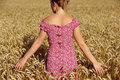 Rear view of young woman standing in wheatfield Royalty Free Stock Photo