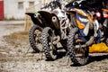 Rear wheel three sports racing bikes Royalty Free Stock Photo