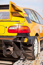 Rearlights of yellow sport car with black diffuser Royalty Free Stock Photo
