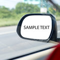 Rearview mirror car rear view reflection whitespace Royalty Free Stock Photo