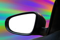 Rearview mirror a closeup of a blank white rear view on a car driving fast on a road there is a zoom effect add your image or text Stock Image
