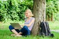 Reasons why you should take your work outside. Lunch time relax or coffee break. Nature is essential to wellbeing and Royalty Free Stock Photo