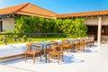 Reasturant on terrace of luxuary hotel sri lanka Royalty Free Stock Photos