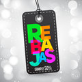 Rebajas - Discounts spanish text, sales vector colorful label tag design