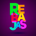 Rebajas - Discounts spanish text, sales vector colorful lettering design