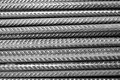 Rebar - black and white - closeup of horizontally stacked steel division reinforcement bars Royalty Free Stock Photo
