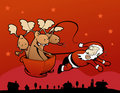 Rebel Reindeers! Santa Claus pulling the sleigh! Stock Photography