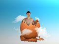 Rebirth of man is born again from egg regenesis concept Royalty Free Stock Images