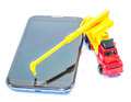 Rebuild your phone system concept with construction truck Royalty Free Stock Photography
