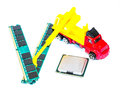 Rebuild your system build concept memory processor and construction truck Stock Photos