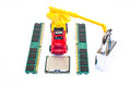 Rebuild your system security build concept memory processor lock and construction truck Stock Photography