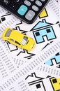 Receipts and house with toy car Royalty Free Stock Images