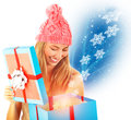 Receive christmas present happy girl opened big gift box many magical snowflake flying from box fantasy new year surprise Stock Images