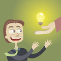 Receive idea it is a brilliant the businessman looks at a burning bulb Stock Photo