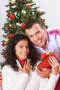 Receiving christmas present Royalty Free Stock Photography
