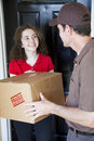 Receiving Home Delivery Royalty Free Stock Photos
