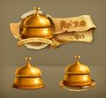 Reception bell vector icons set with Royalty Free Stock Photo
